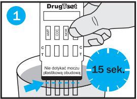 Badanie na narkotyki Multi - zanurzanie pasków testowych w próbce moczu